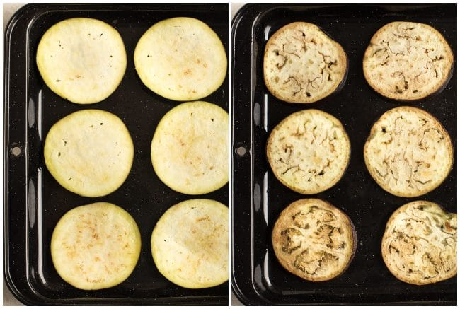 Collage showing sliced eggplant before and after grilling
