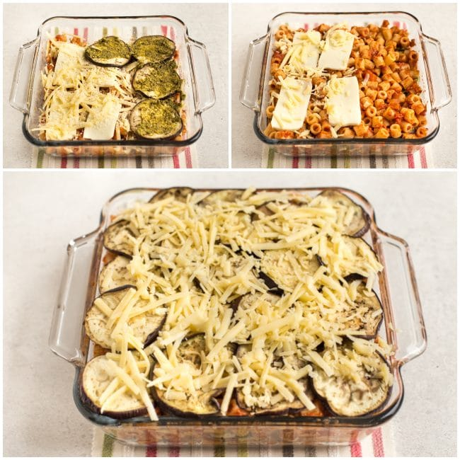 Collage showing eggplant parmesan pasta bake being layered in a pan