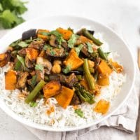 Aubergine and sweet potato red Thai curry