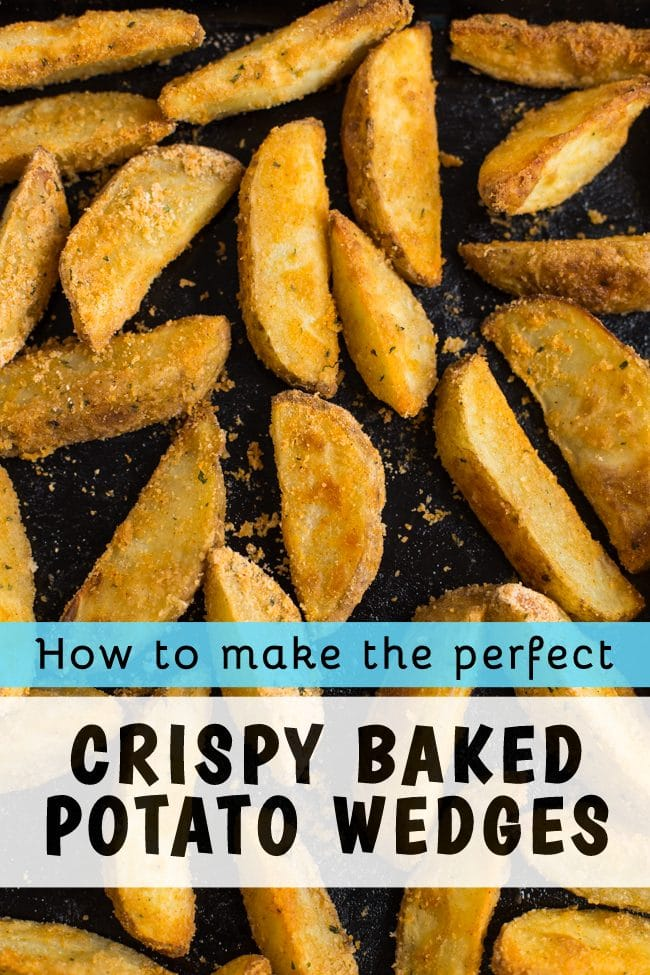 Crispy potato wedges on a baking sheet with a text overlay