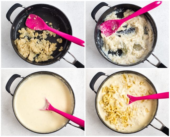 Collage showing white sauce being cooked and mixed with pasta