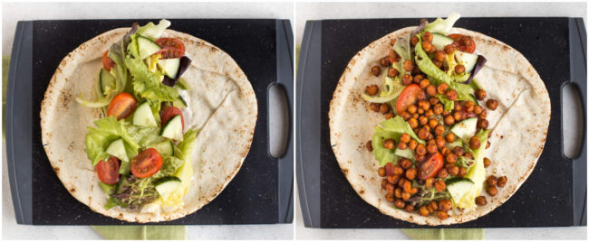 Collage showing salad wraps before and after being topped with roasted chickpeas.