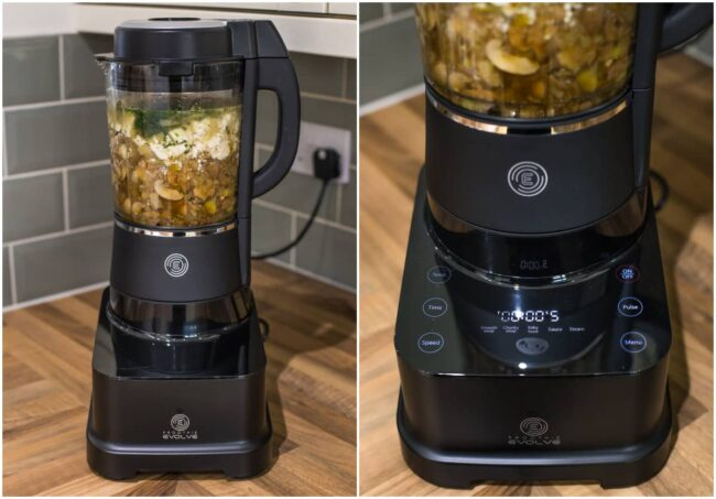 Froothie Evolve blender being used to make a creamy mushroom soup.