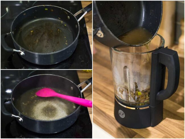 Collage showing how to deglaze a pan with vegetable stock.