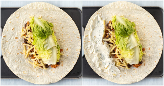 An unfolded vegetarian burrito topped with lettuce, cheese and sour cream.