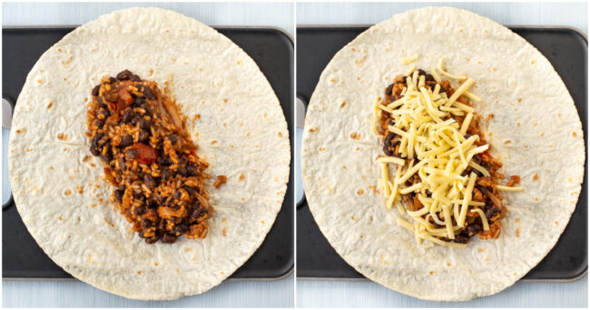 A flour tortilla topped with rice, black beans, and grated cheese.