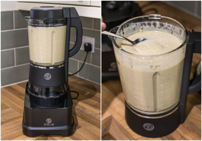 Creamy mushroom soup blended up in the Froothie Evolve blender.