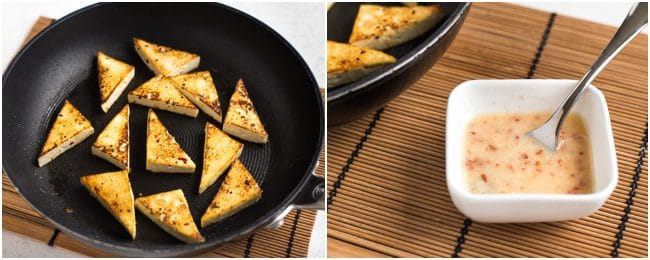 Collage showing crispy fried tofu and lemon sauce