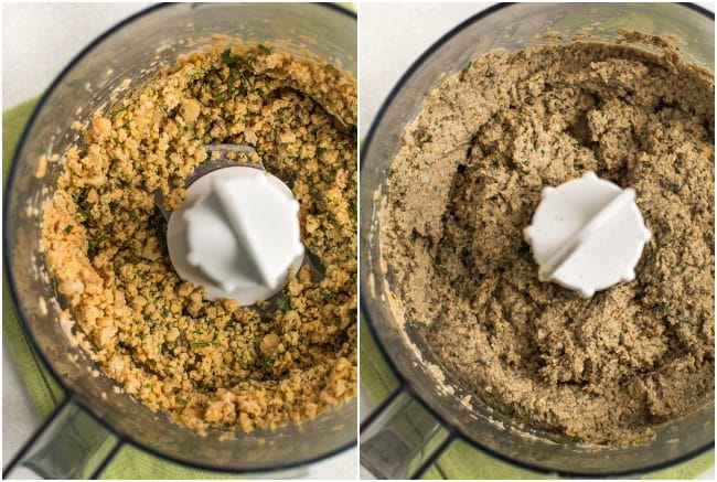 Collage showing vegetarian mushroom pate before and after blitzing