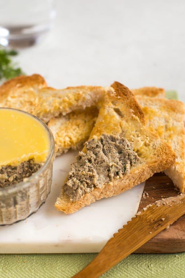 Vegetarian mushroom pate spread on toast