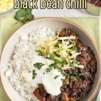 Mushroom and black bean chilli