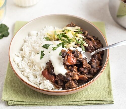 Mushroom And Black Bean Chilli Easy Cheesy Vegetarian