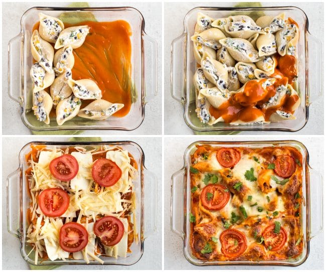 Collage showing enchilada stuffed pasta shells being layered up in a baking dish
