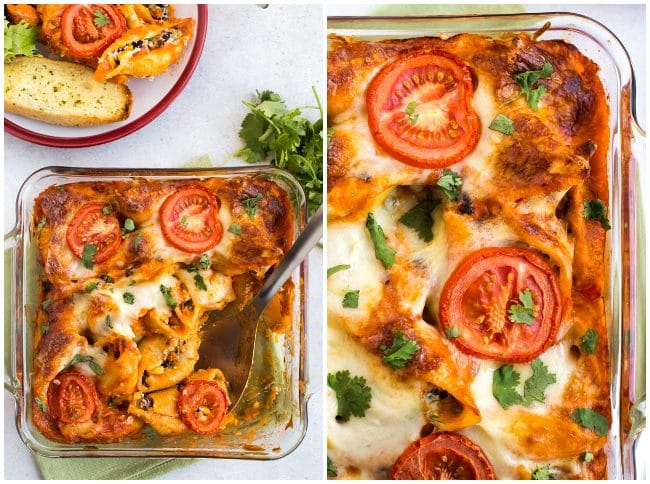 Collage showing cheesy enchilada stuffed pasta shells in a baking dish