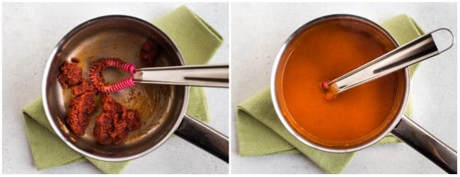 Collage showing homemade enchilada sauce being made