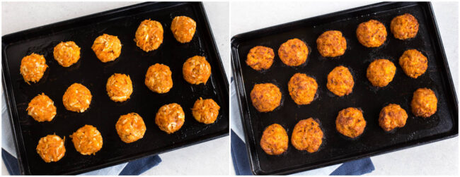 Carrot and cheddar bites on a baking tray before and after baking.