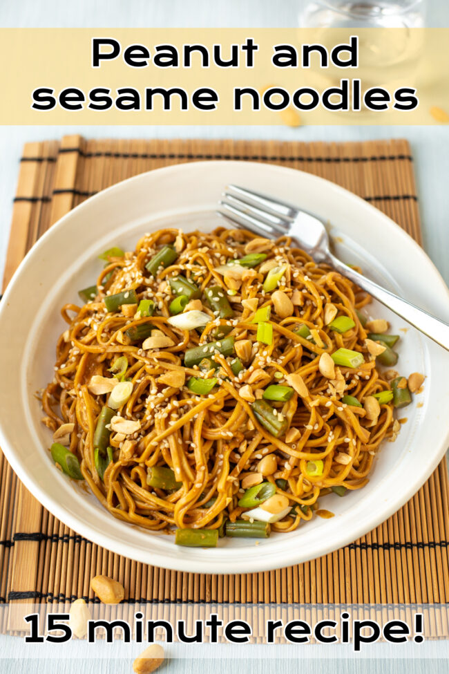 A portion of peanut noodles in a bowl topped with sesame seeds and chopped nuts.