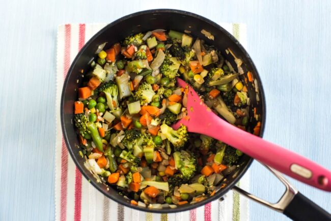 Mixed vegetables cooking in a pan