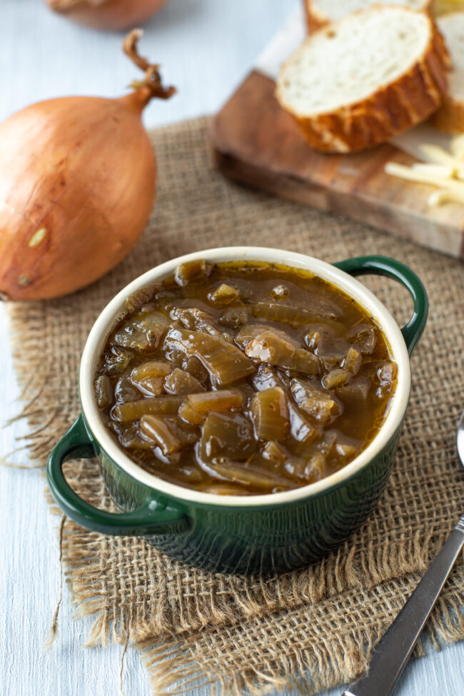 A bowl of slow cooker French onion soup.
