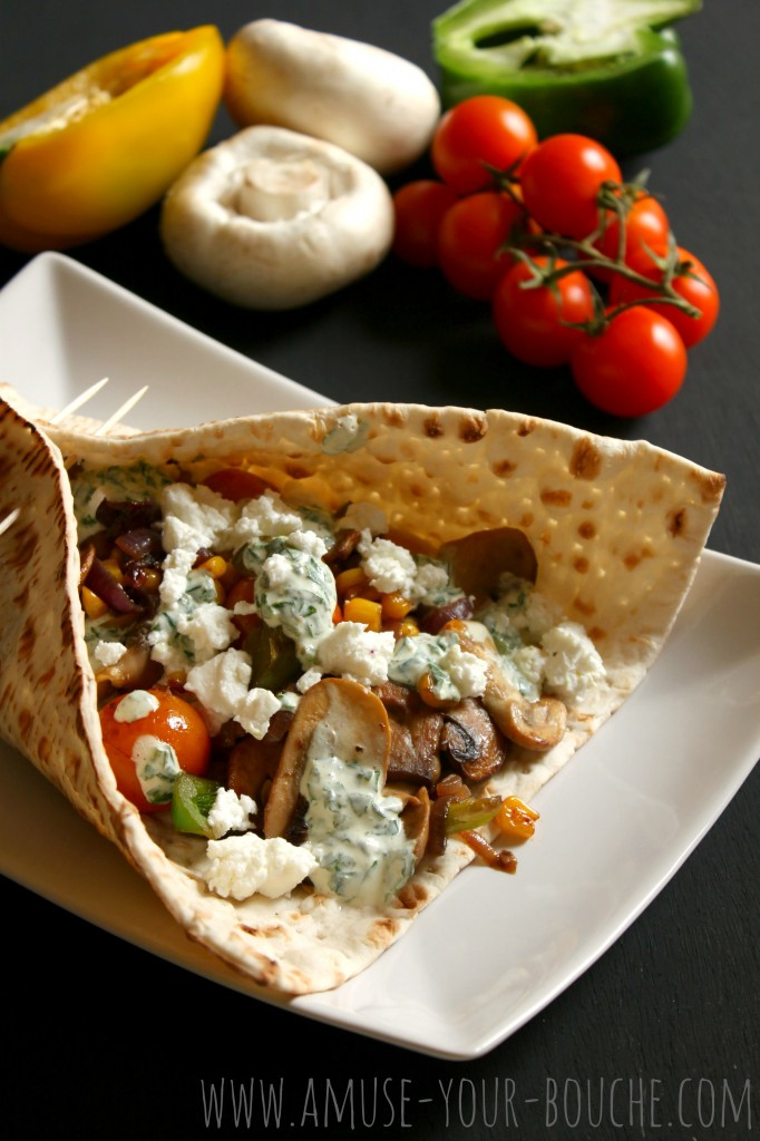 Mediterranean vegetable flatbread