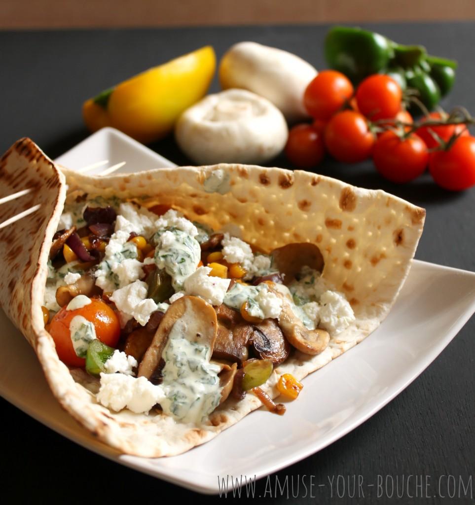 Mediterranean vegetable flatbread