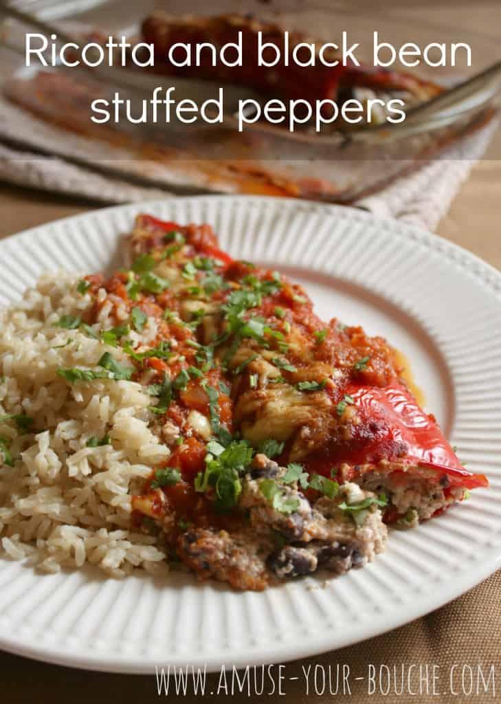 Ricotta and black bean stuffed peppers