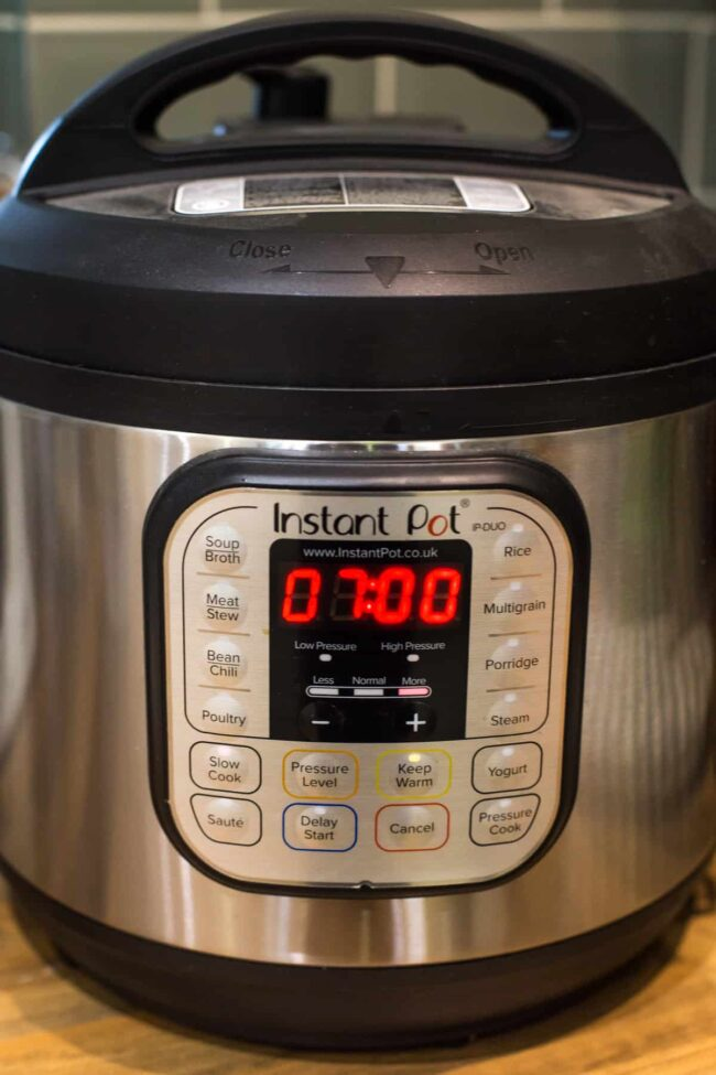 Instant Pot set to slow cook for 7 hours