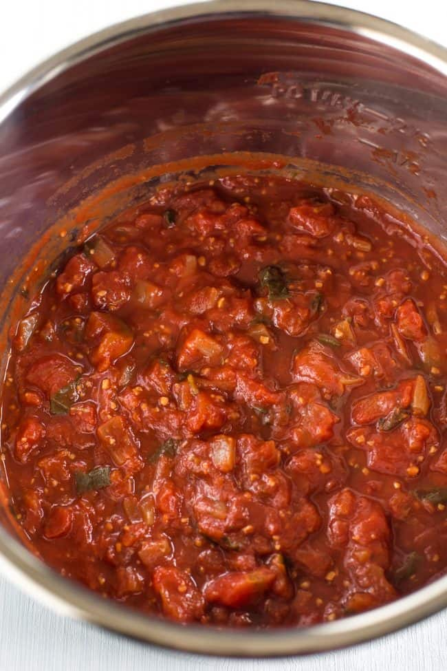 Chunky slow cooker tomato sauce in the pot