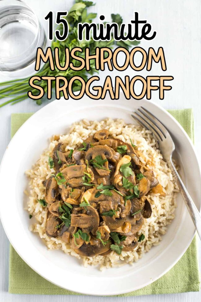 Portion of creamy mushroom stroganoff served on rice
