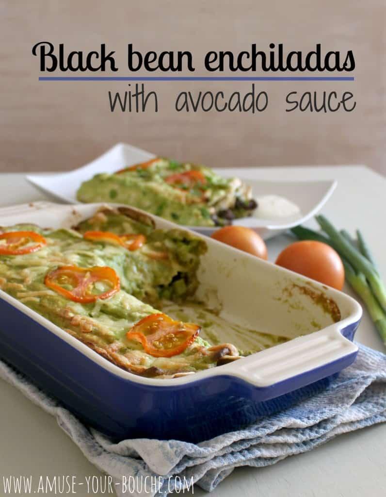 Black bean enchiladas with avocado sauce