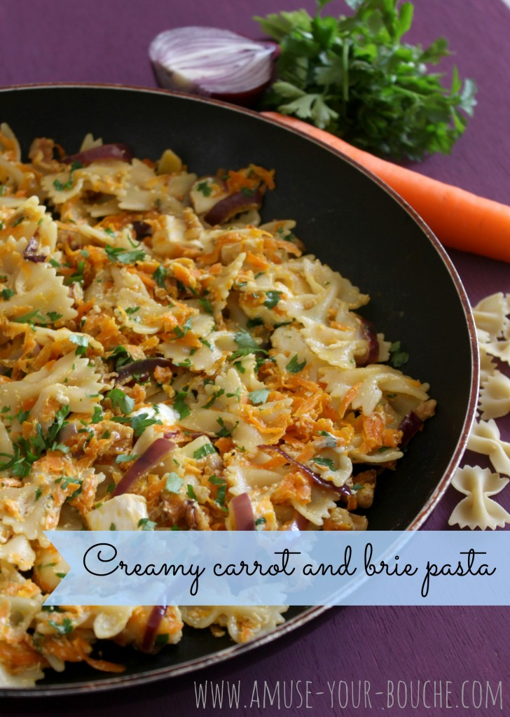 Creamy carrot and brie pasta