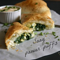 Saag paneer puffs with mango dipping sauce