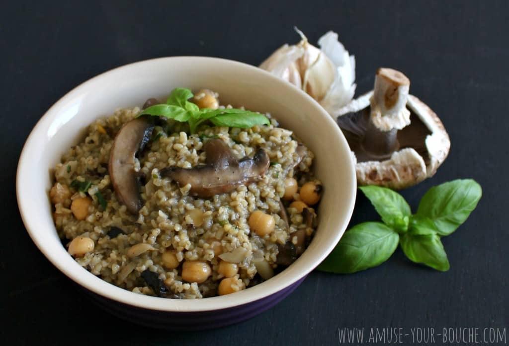 Garlic mushroom bulgur with chickpeas