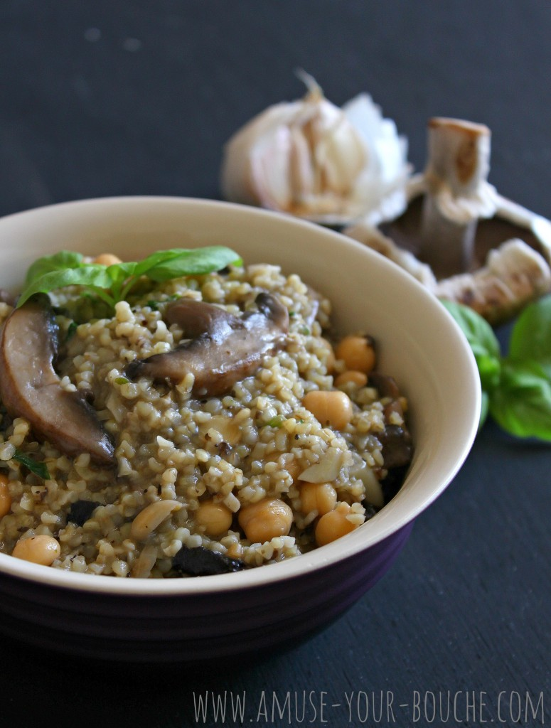 Garlic mushroom bulgur with chickpeas