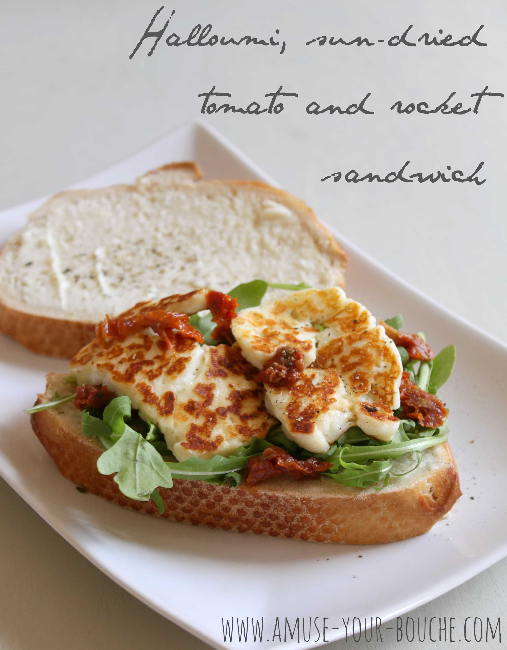 Halloumi sandwich with sun-dried tomatoes and rocket - Amuse Your ...
