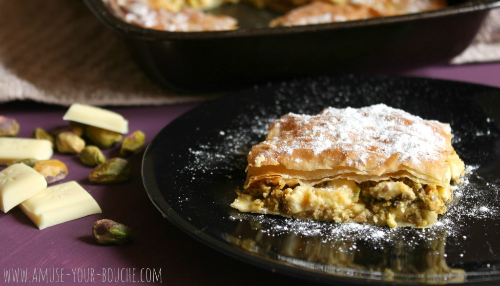 White chocolate and pistachio baklava 10