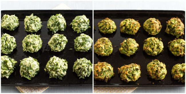 Spinach and ricotta dumplings before and after baking