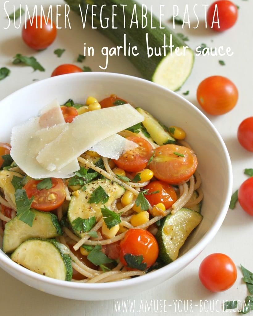 summer vegetable pasta in garlic butter sauce amuse your bouche. Black Bedroom Furniture Sets. Home Design Ideas