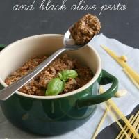 Sun-dried tomato and black olive pesto