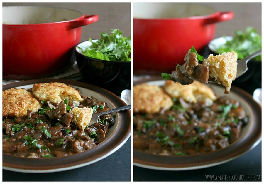 Mushroom and walnut stew with cheesy cobbler topping [Amuse Your Bouche]