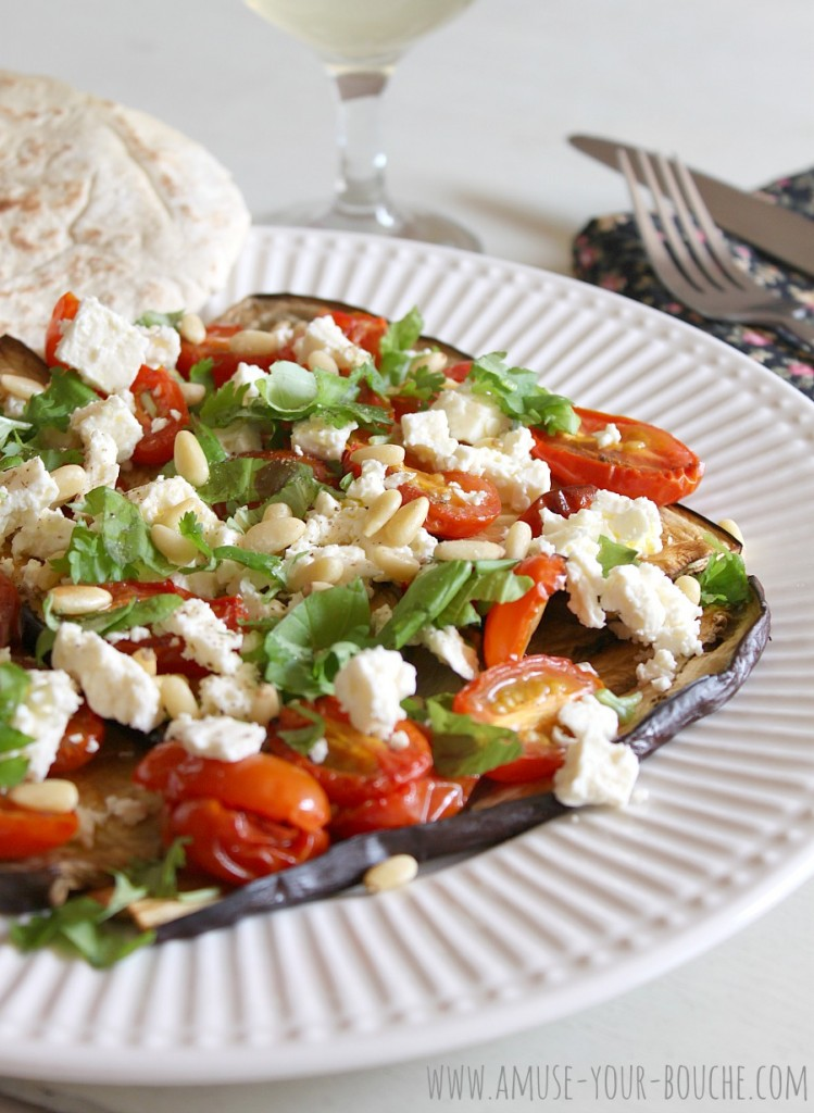 Roasted tomato and aubergine salad with feta and pine nuts [Amuse Your Bouche]