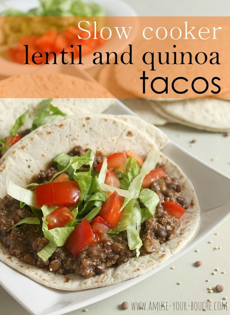 Slow cooker lentil quinoa tacos