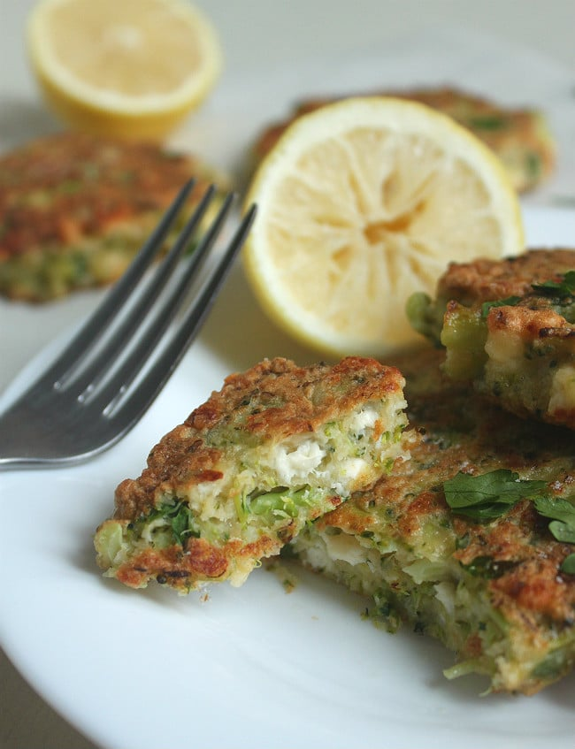 Broccoli and feta fritters