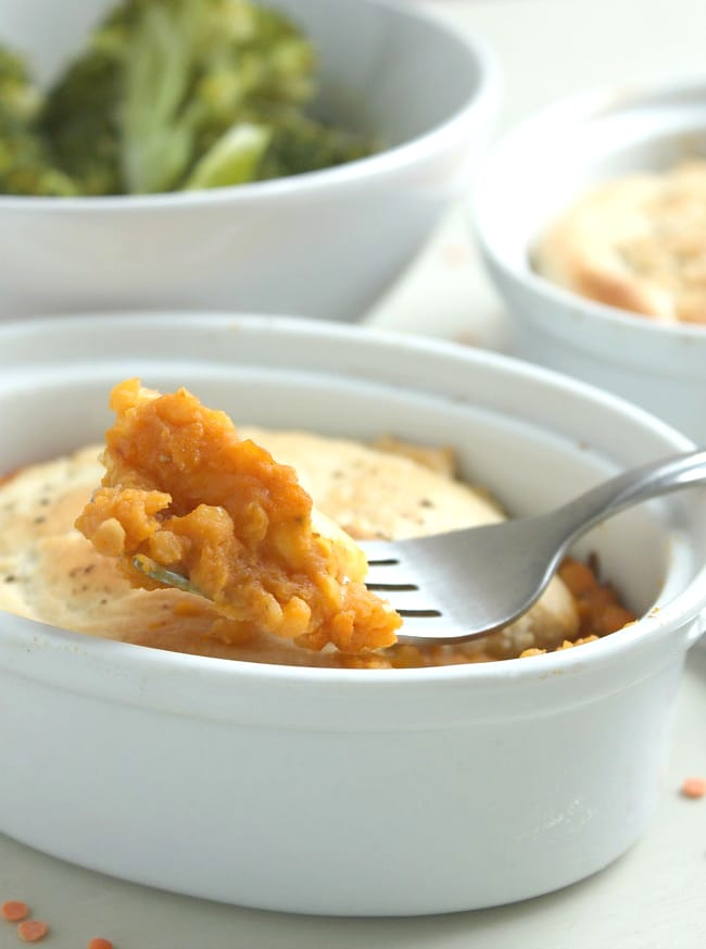 Cheesy pumpkin lentil pot pies