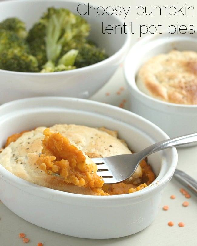 Cheesy pumpkin lentil pot pies