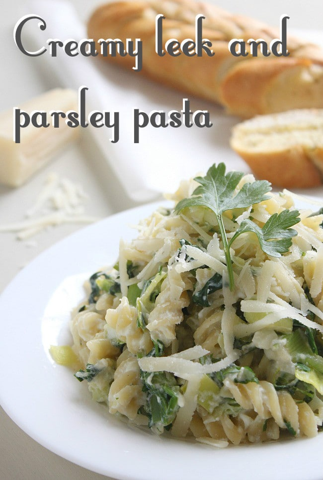 Creamy leek and parsley pasta