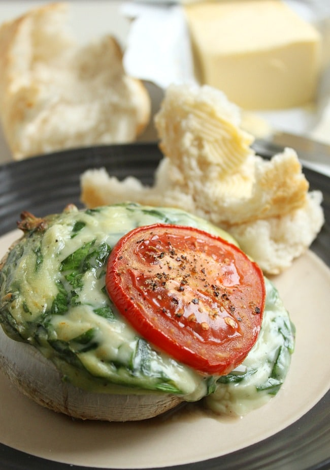 Creamed spinach stuffed mushrooms