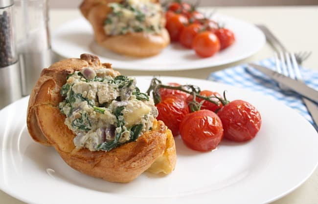 Mushroom an brie stuffed Yorkshire puddings
