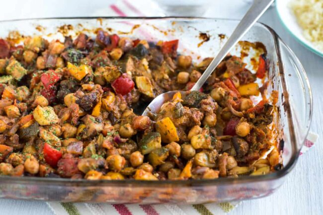 Roasted vegetable ratatouille with chickpeas