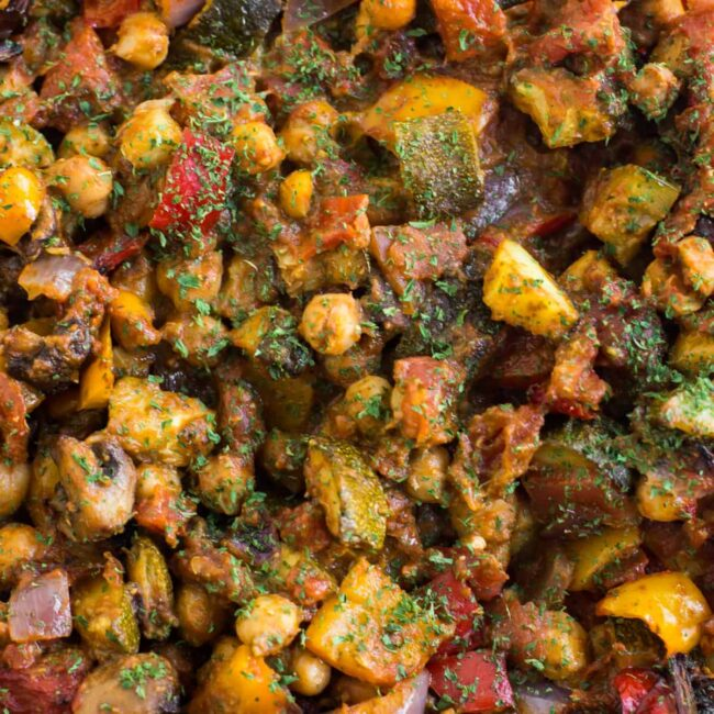 Extreme close-up of roasted vegetable ratatouille with chickpeas